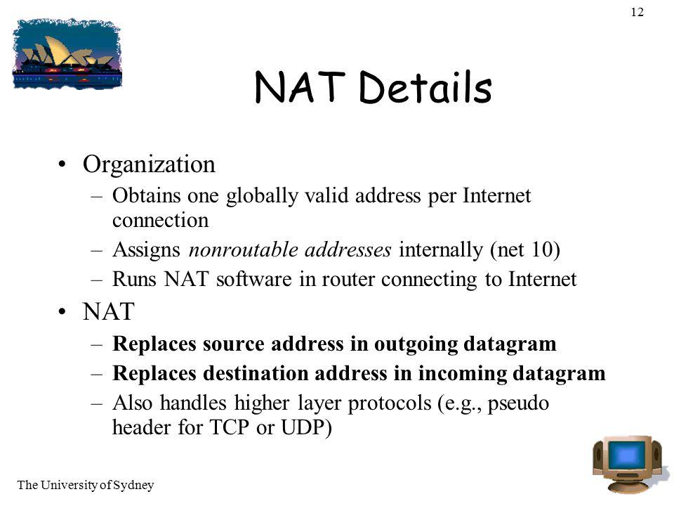 NAT Details Organization NAT