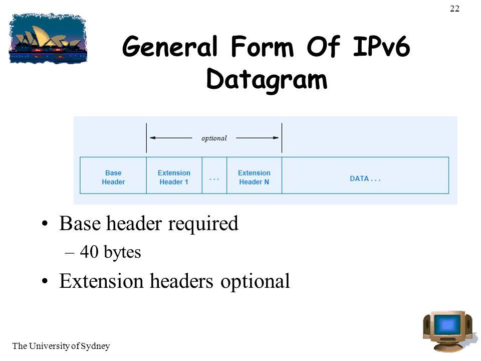 General Form Of IPv6 Datagram