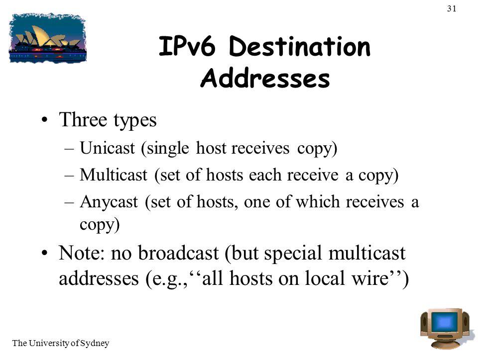 IPv6 Destination Addresses
