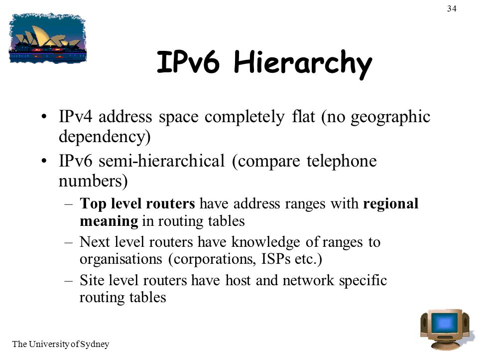 34 IPv6 Hierarchy. IPv4 address space completely flat (no geographic dependency) IPv6 semi-hierarchical (compare telephone numbers)