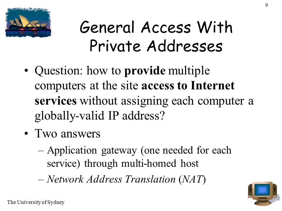 General Access With Private Addresses