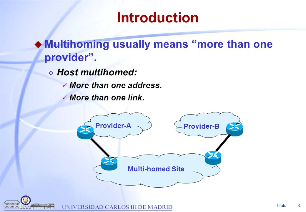Introduction Multihoming usually means more than one provider .
