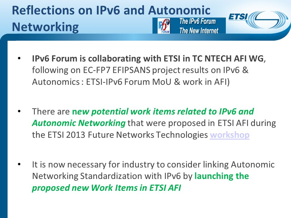 Reflections on IPv6 and Autonomic Networking