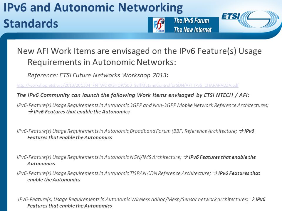 IPv6 and Autonomic Networking Standards