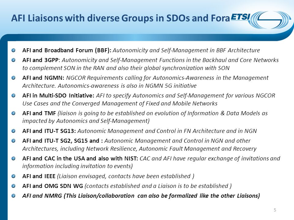 AFI Liaisons with diverse Groups in SDOs and Fora