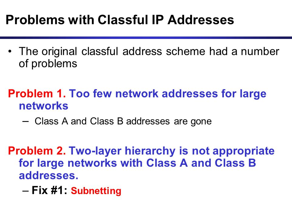 Problems with Classful IP Addresses