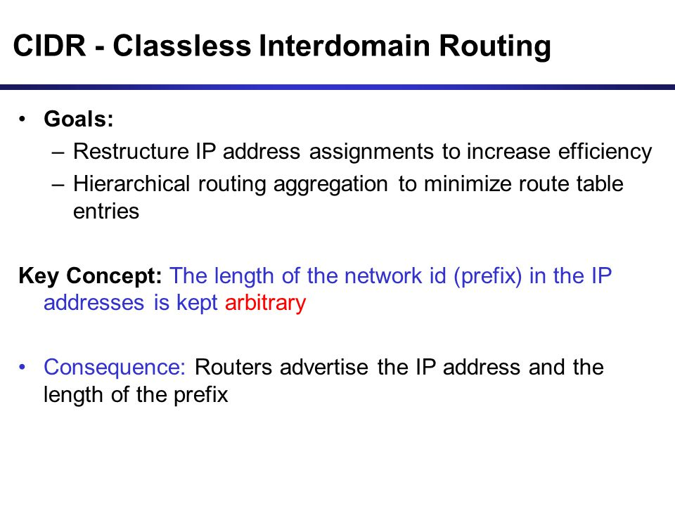 CIDR - Classless Interdomain Routing