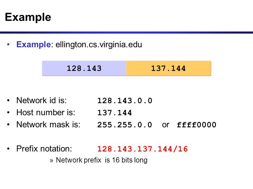 Example Example: ellington.cs.virginia.edu Network id is: 128.143.0.0
