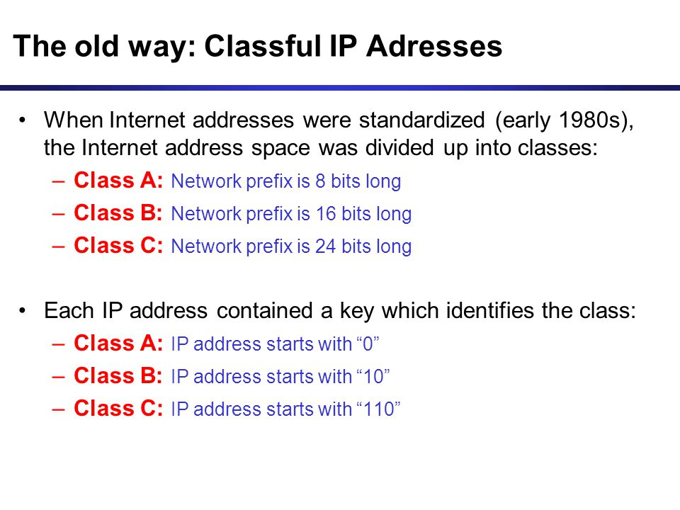 The old way: Classful IP Adresses