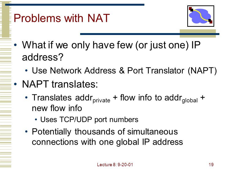 Problems with NAT What if we only have few (or just one) IP address
