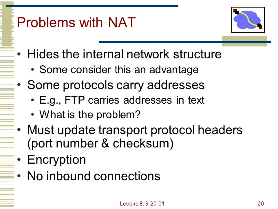 Problems with NAT Hides the internal network structure