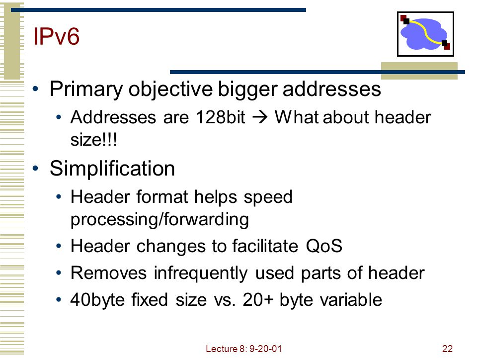 IPv6 Primary objective bigger addresses Simplification