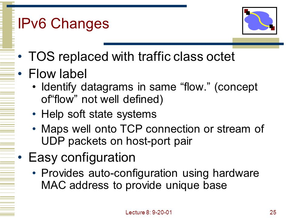 IPv6 Changes TOS replaced with traffic class octet Flow label