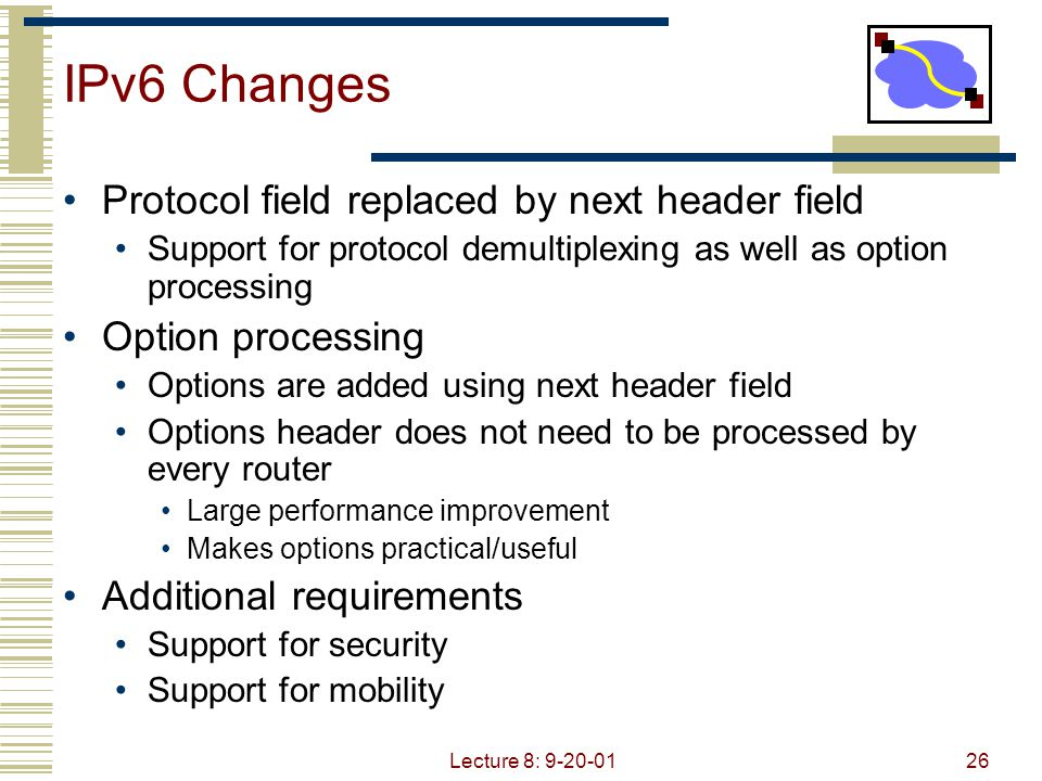 IPv6 Changes Protocol field replaced by next header field