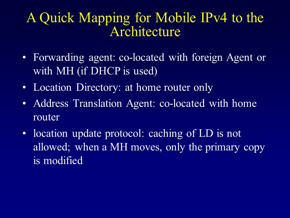 A Quick Mapping for Mobile IPv4 to the Architecture