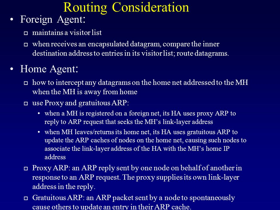 Routing Consideration
