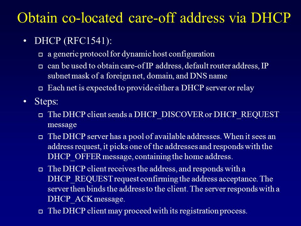 Obtain co-located care-off address via DHCP