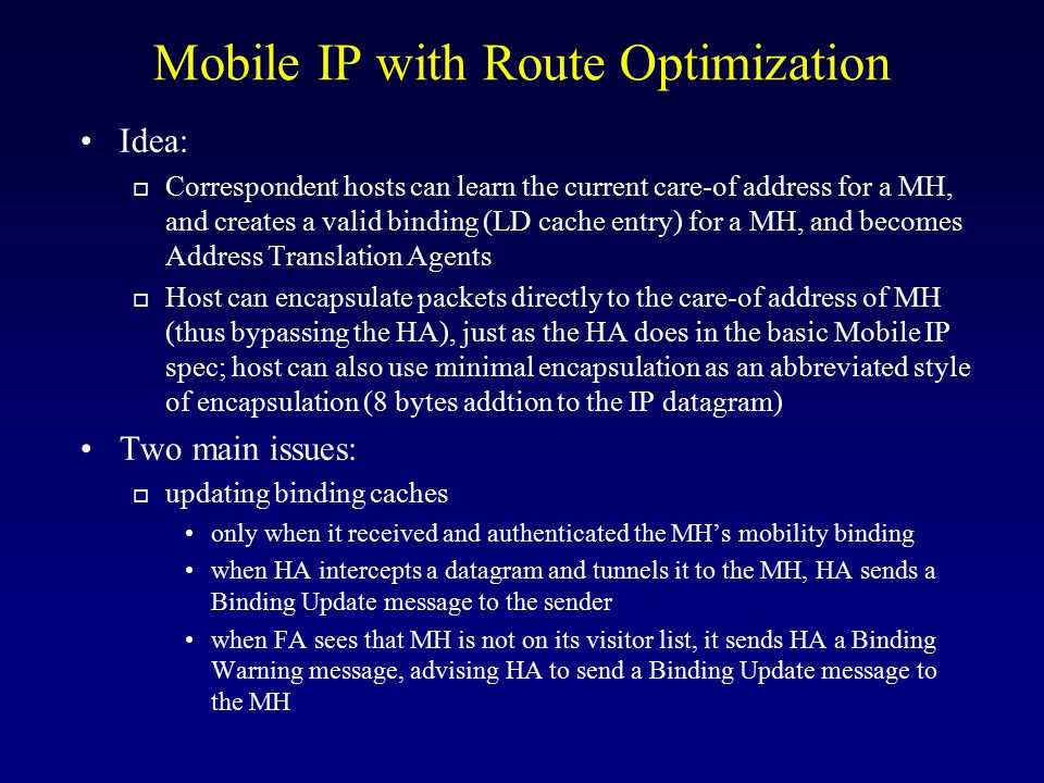 Mobile IP with Route Optimization