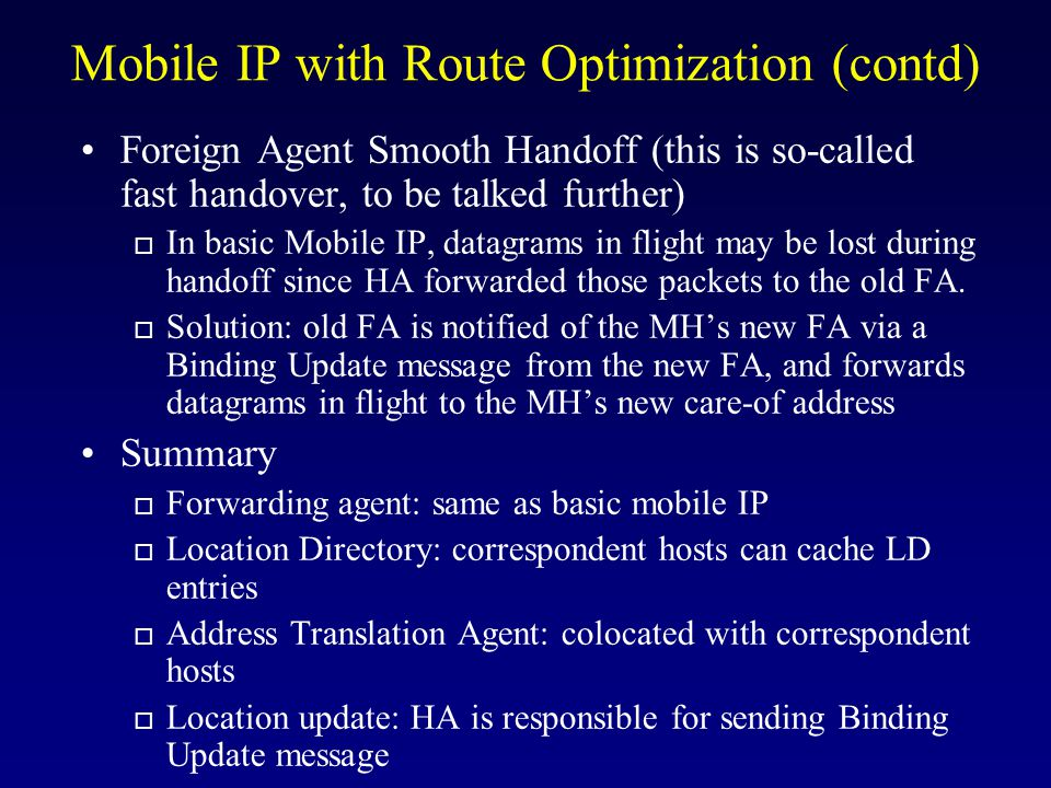 Mobile IP with Route Optimization (contd)