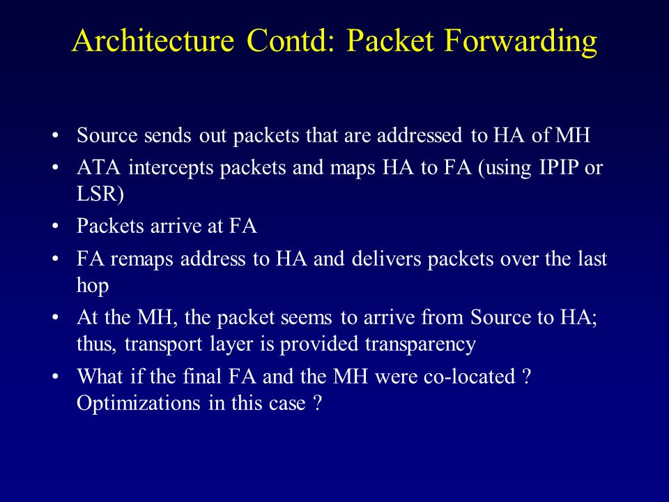Architecture Contd: Packet Forwarding
