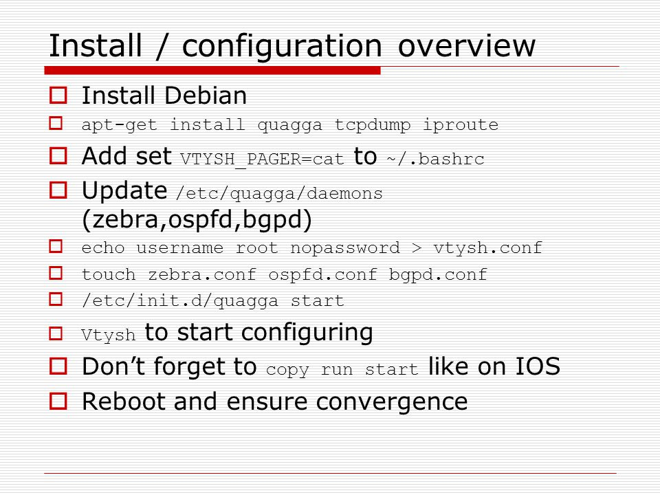 Install / configuration overview