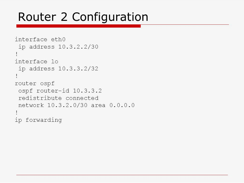 Router 2 Configuration interface eth0 ip address 10.3.2.2/30 !