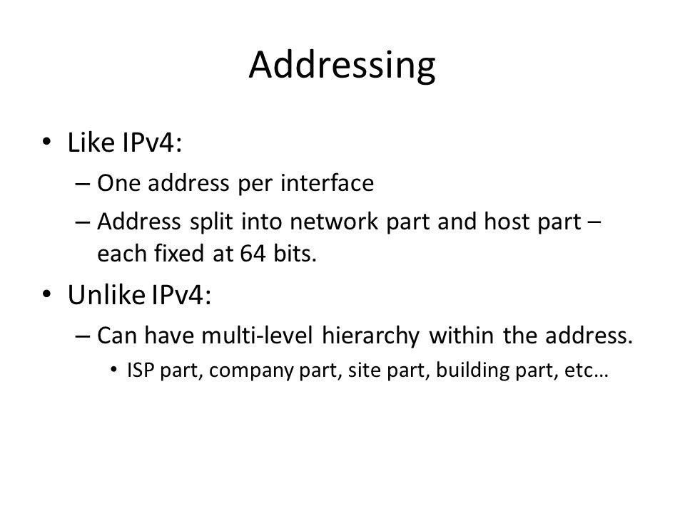 Addressing Like IPv4: Unlike IPv4: One address per interface