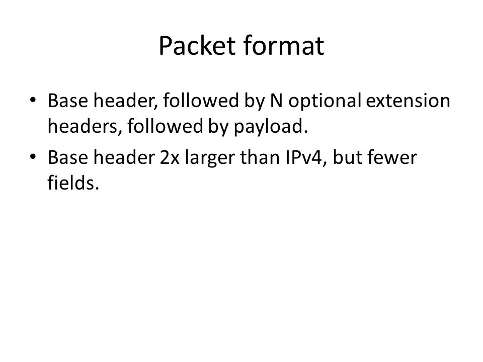 Packet format Base header, followed by N optional extension headers, followed by payload.