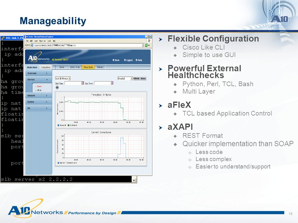 Manageability Flexible Configuration Powerful External Healthchecks