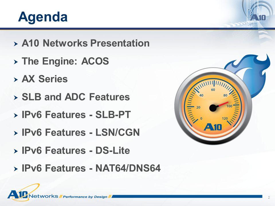 Agenda A10 Networks Presentation The Engine: ACOS AX Series