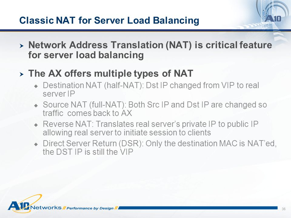 Classic NAT for Server Load Balancing