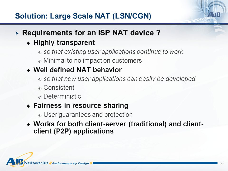 Solution: Large Scale NAT (LSN/CGN)