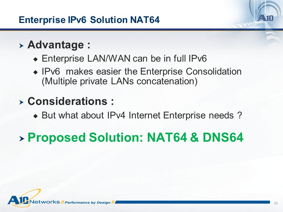 Enterprise IPv6 Solution NAT64