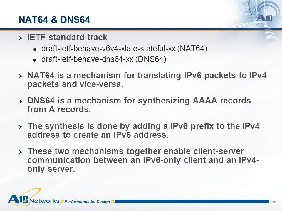 NAT64 & DNS64 IETF standard track