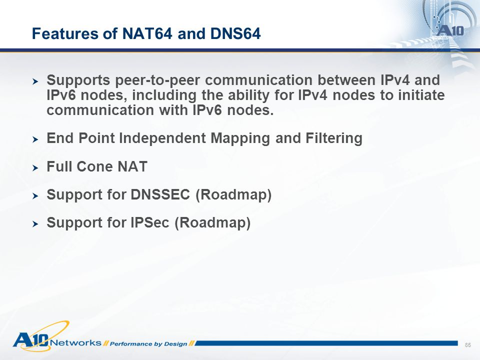 Features of NAT64 and DNS64