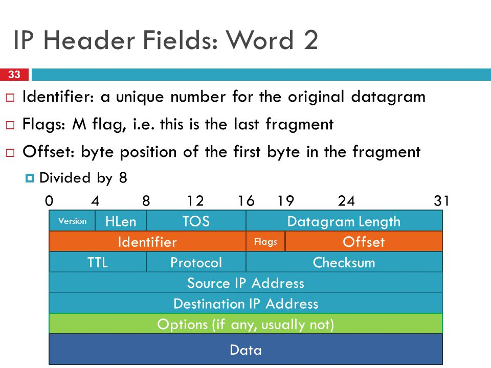 IP Header Fields: Word 2 Identifier: a unique number for the original datagram. Flags: M flag, i.e. this is the last fragment.