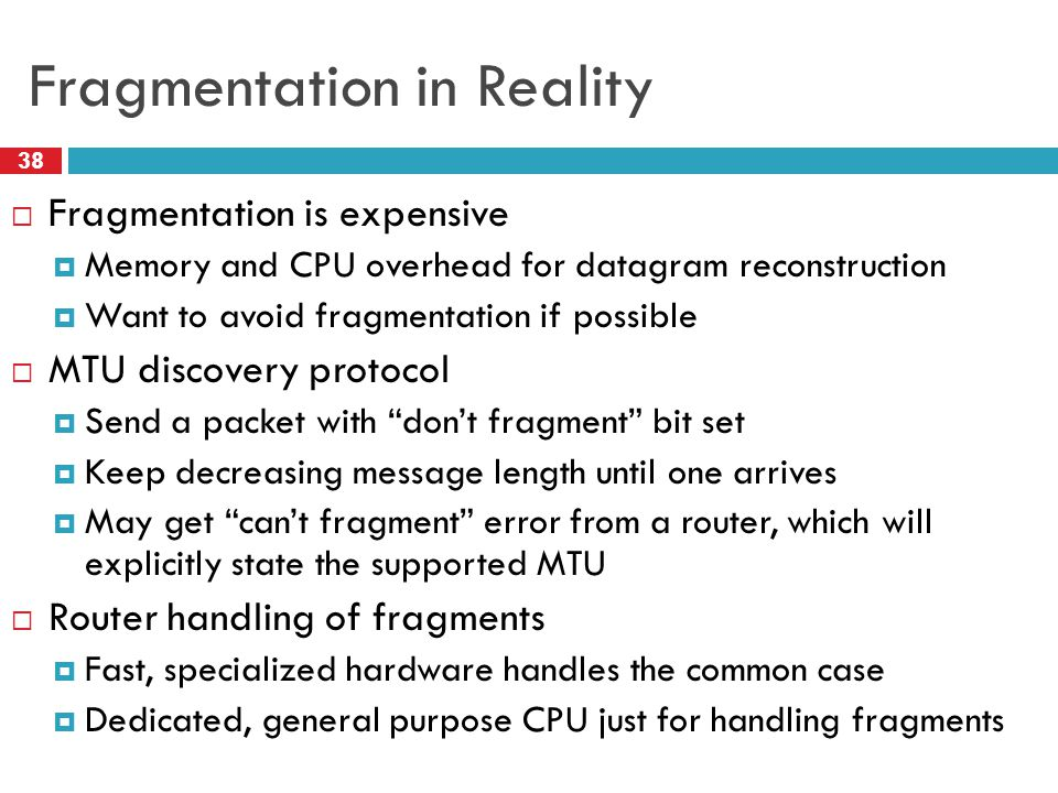 Fragmentation in Reality