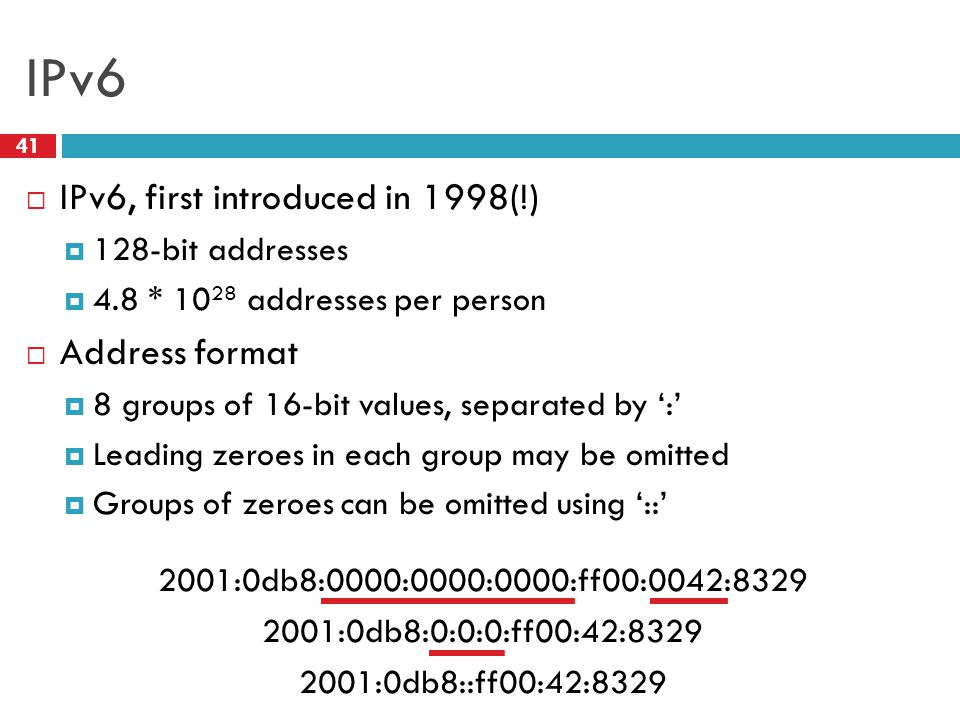 IPv6 IPv6, first introduced in 1998(!) Address format