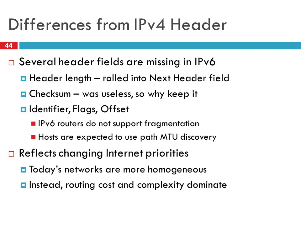 Differences from IPv4 Header