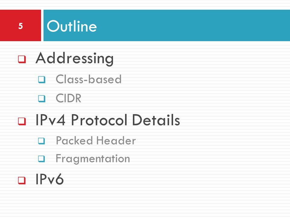 Outline Addressing IPv4 Protocol Details IPv6 Class-based CIDR