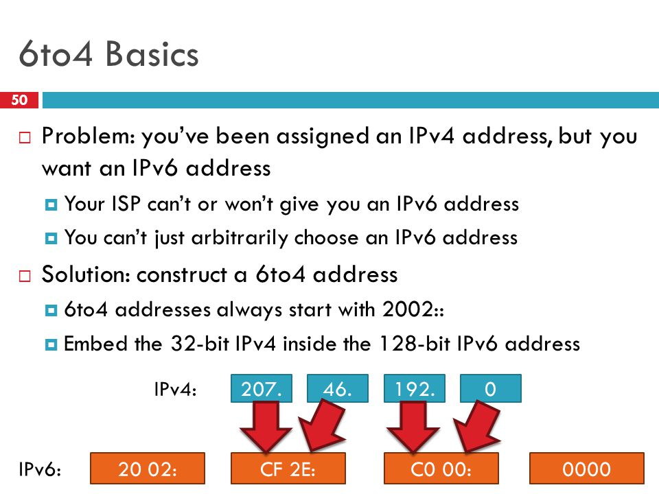 6to4 Basics Problem: you've been assigned an IPv4 address, but you want an IPv6 address. Your ISP can't or won't give you an IPv6 address.