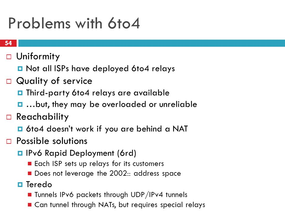 Problems with 6to4 Uniformity Quality of service Reachability