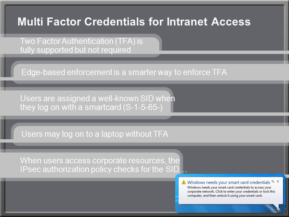 Multi Factor Credentials for Intranet Access