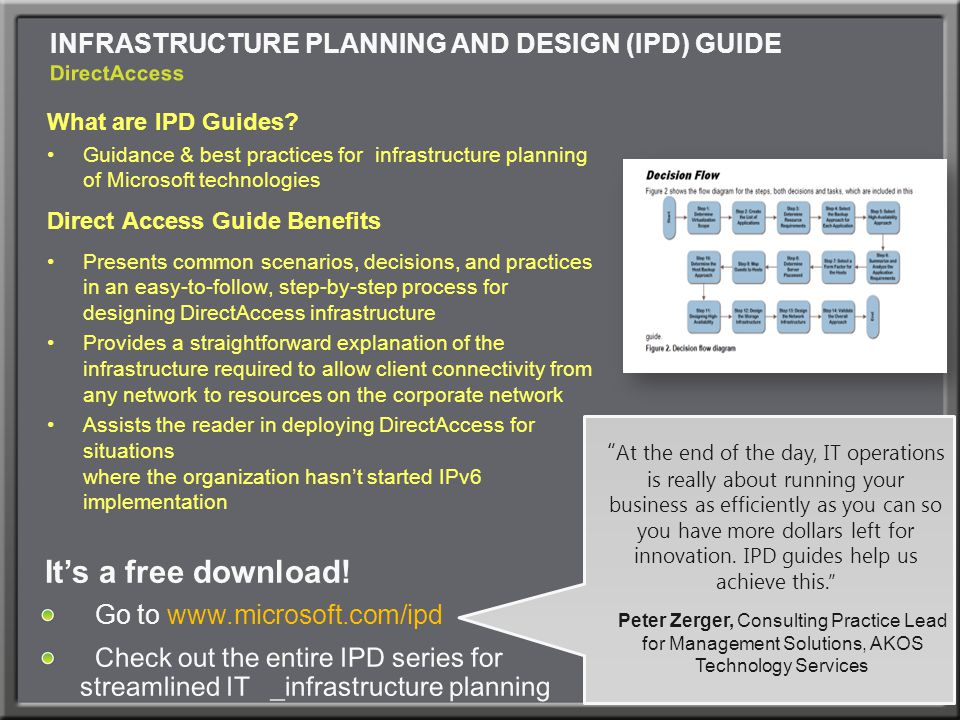 INFRASTRUCTURE PLANNING AND DESIGN (IPD) GUIDE DirectAccess