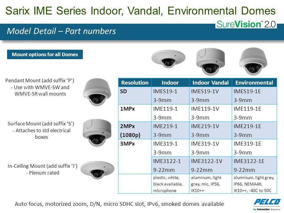 Sarix IME Series Indoor, Vandal, Environmental Domes