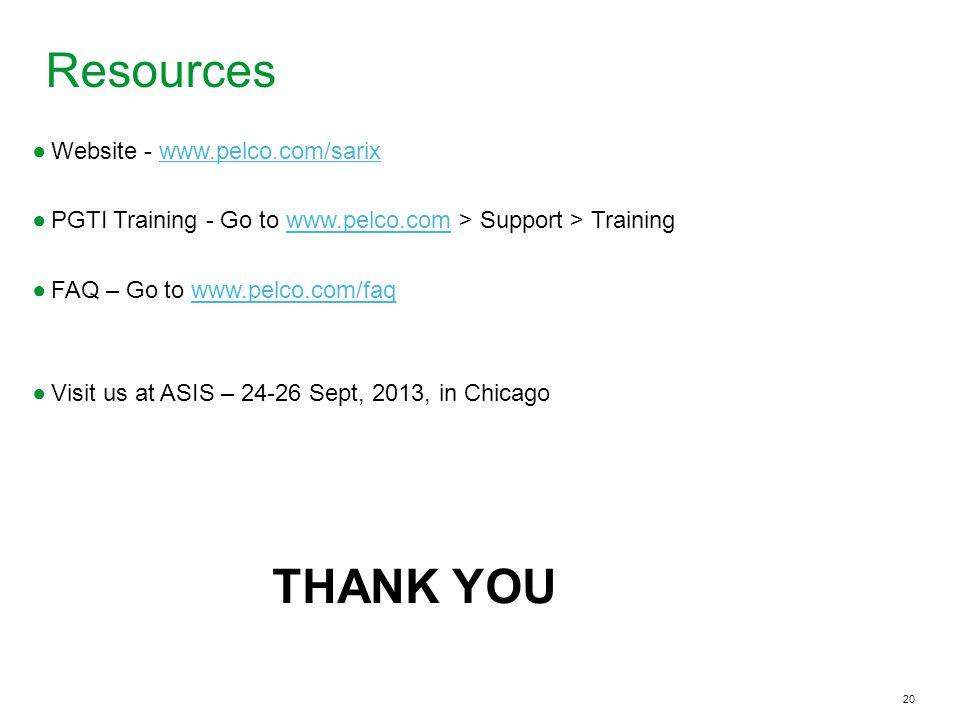Resources THANK YOU Website - www.pelco.com/sarix
