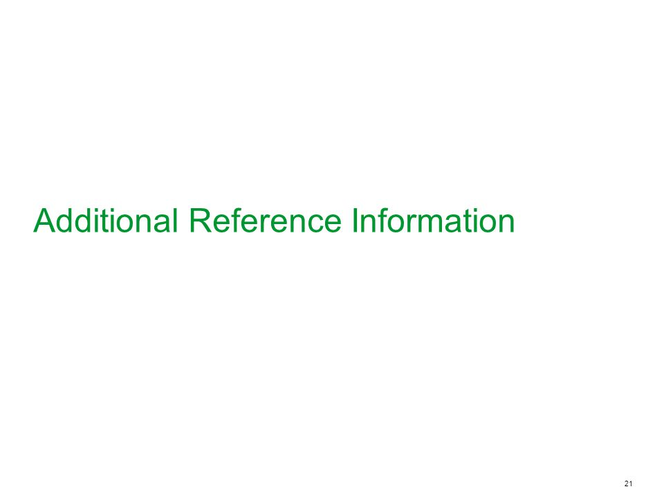 Additional Reference Information