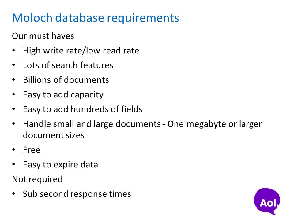Moloch database requirements