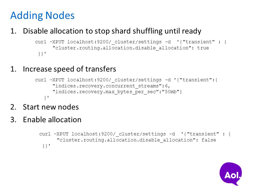 Adding Nodes Disable allocation to stop shard shuffling until ready