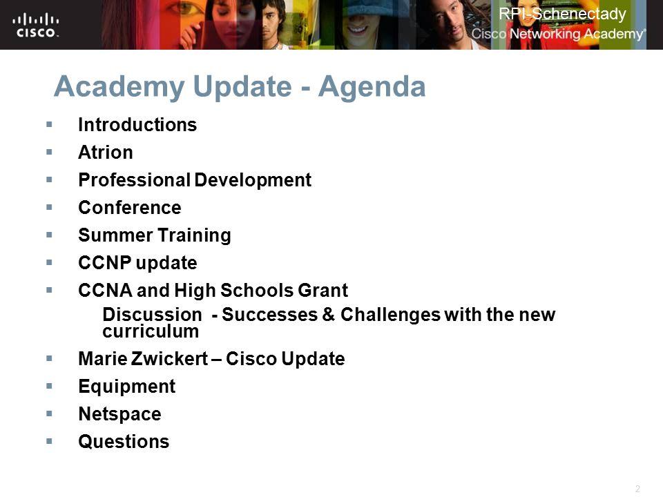 Academy Update - Agenda